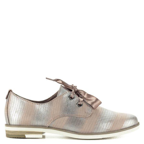 Fűzős Marco Tozzi cipő ezüst-rózsaszín színkombinációban, puha memóriahabos talpbéléssel. Szatén fűzővel készült.