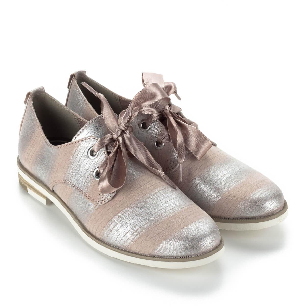Fűzős Marco Tozzi cipő ezüst-rózsaszín színkombinációban bfc71a1c19