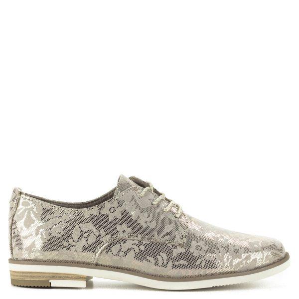 """Fűzős Marco Tozzi női cipő csillogó felsőrésszel. A """"feel me"""" memóriahabos talpbetét garantálja a kényelmet. Fiatalos, divatos cipő."""