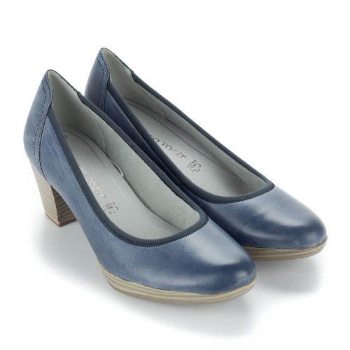 Marco Tozzi bőr cipő kb 5,5 cm magas AntiShokk sarokkal, platformos talppal. Memóriahabos talpbéléssel készült.