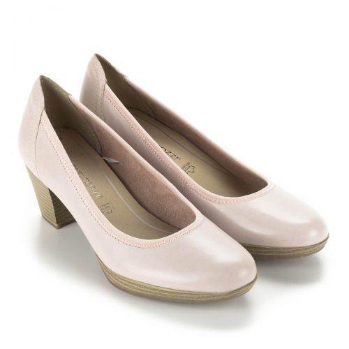Rózsaszín Marco Tozzi bőr cipő 5,5 cm-es AntiShokk sarokkal, emelt talppal. Memóriahabos talpbéléssel készült.
