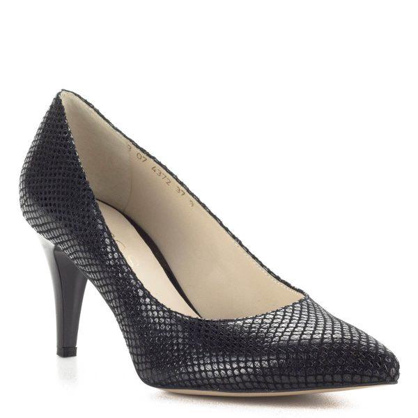 Anis mintás fekete magassarkú női cipő. Bőr felsőrészét apró sorminta díszíti, sarka 7,5 cm magas. Bélése bőr. Ingyenes szállítással rendelhető.