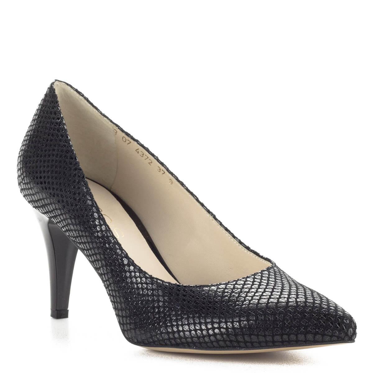 Anis mintás fekete magassarkú női cipő 7,5 cm magas sarokkal
