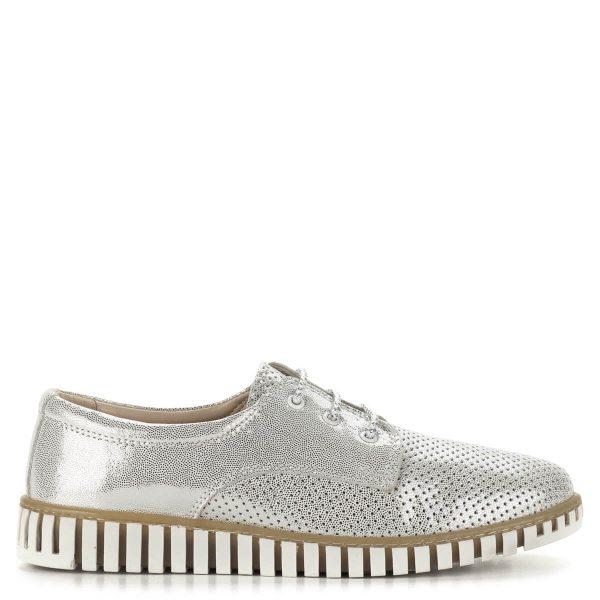 Anna Viotti ezüst fűzős cipő bőrből. A cipő bélése bőr, nagyon kényelmes, puha, párnázott. A cipő ingynes kiszállítással rendelhető.