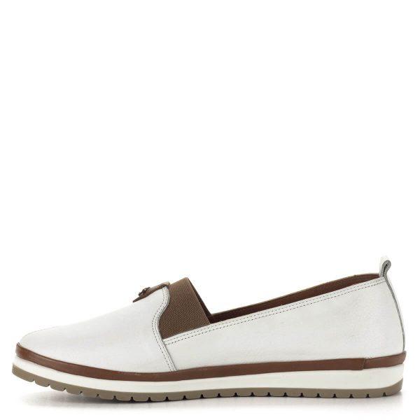 Anna Viotti lapos bőr cipő fehér-barna színkombinációban. Anyaga kívül-belül bőr. Webáruházunkból ingyenes szállítással rendelhető.