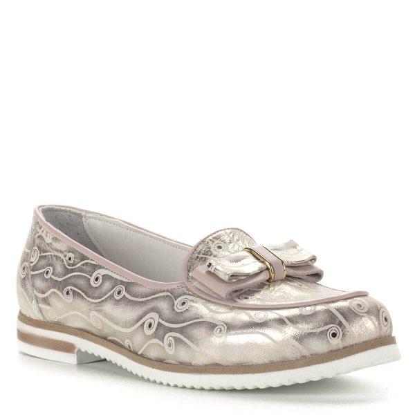 Anna Viotti masnis bőr cipő lapos talppal, bőr béléssel. Mintás bőrből készült, rózsaszín szegéllyel. Ingyenes kiszállítással rendelhető.