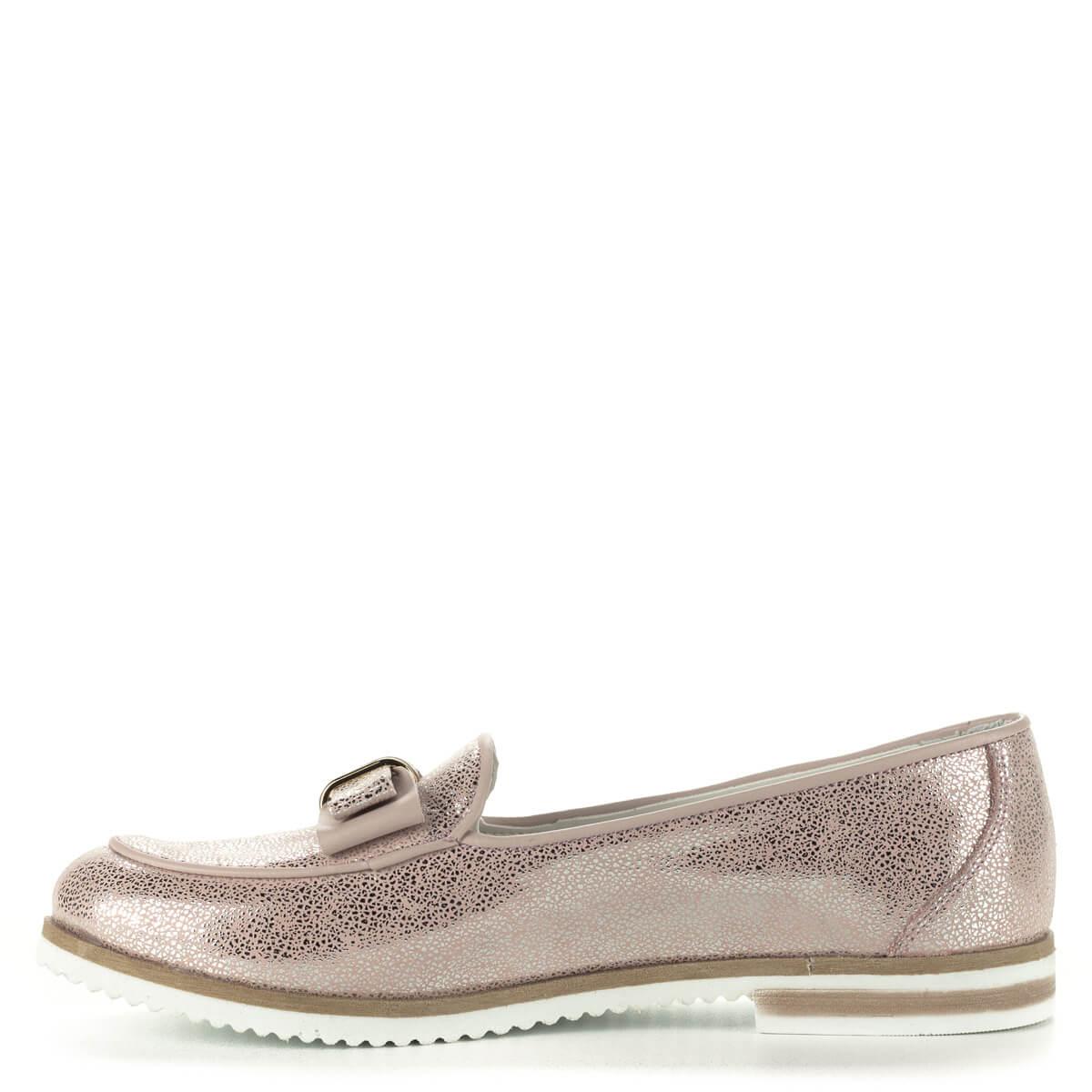 fc42b0227f A; Anna Viotti rózsaszín bőr cipő masni dísszel. Felsőrésze és bélése is  természetes bőr.