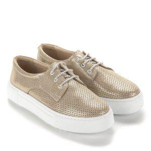 23b5608640 Arany Anna Viotti fűzős cipő bőr felsőrésszel és bőr béléssel. Vastag gumi  talppal készült,