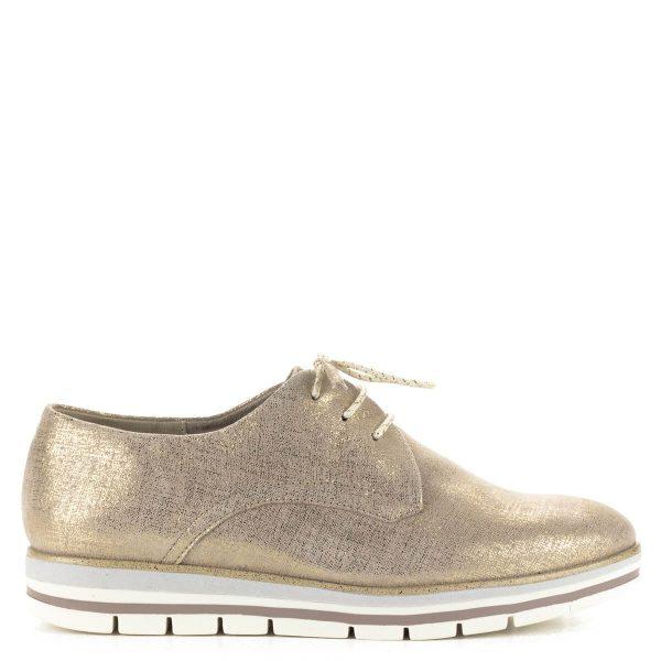 Fűzős Marco Tozzi bőr cipő arany színben, memóriahabos talpbéléssel. A cipő webáruházunkból ingyenes szállítással rendelhető.