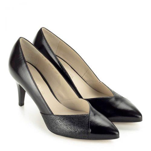 Anis fekete női körömcipő kb 7 centis sarokkal. Kívül-belül bőrből készült, elegáns hegyes orrú cipő. Cipő Webáruházunkban ingyenes szállítással rendelhető.