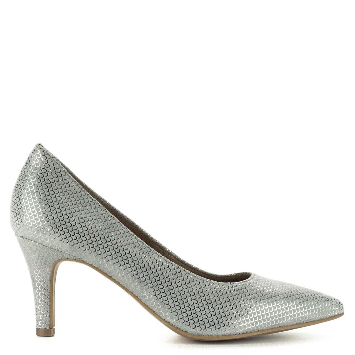 Tamaris alkalmi cipő szürke színben, 7 cm magas sarokkal