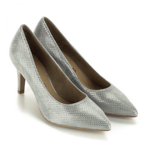 Tamaris alkalmi cipő szürke színben. Bőre strukturált, felületét apró sorminta díszíti, orra nyújtott. Sarka 7 cm magas. Ingyenes szállítással rendelhető.