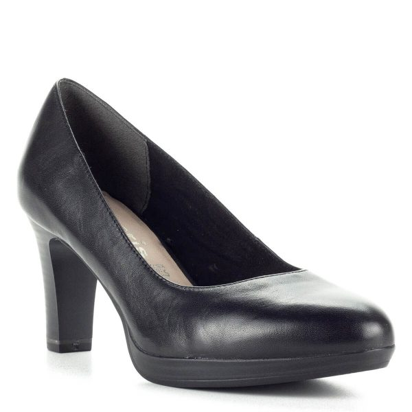 Tamaris magassarkú 7,5 cm magas sarokkal - Klasszikus Tamaris magassarkú bőr cipő platformos talppal, fekete színben - Ingyenes szállítással rendelhető