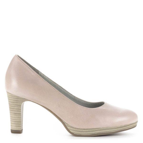 Tamaris platformos magassarkú cipő 7,5 cm-es sarokkal, rózsaszín színben. A cipő bőrből készült, ingyenes szállítással rendelhető.