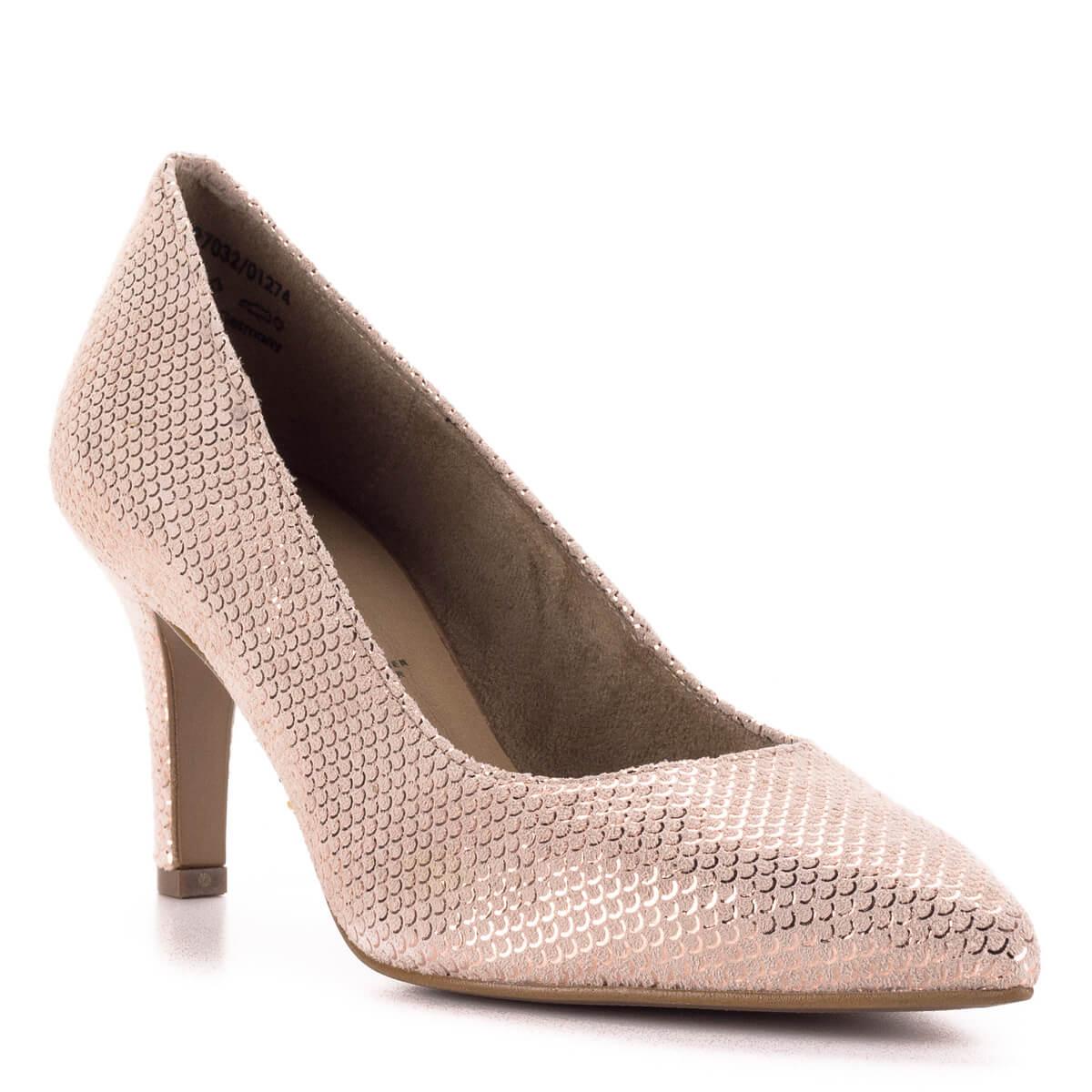... Tamaris rózsaszín alkalmi cipő strukturált bőrből. A cipő felületét  apró sorminta díszíti 0815e6e82c