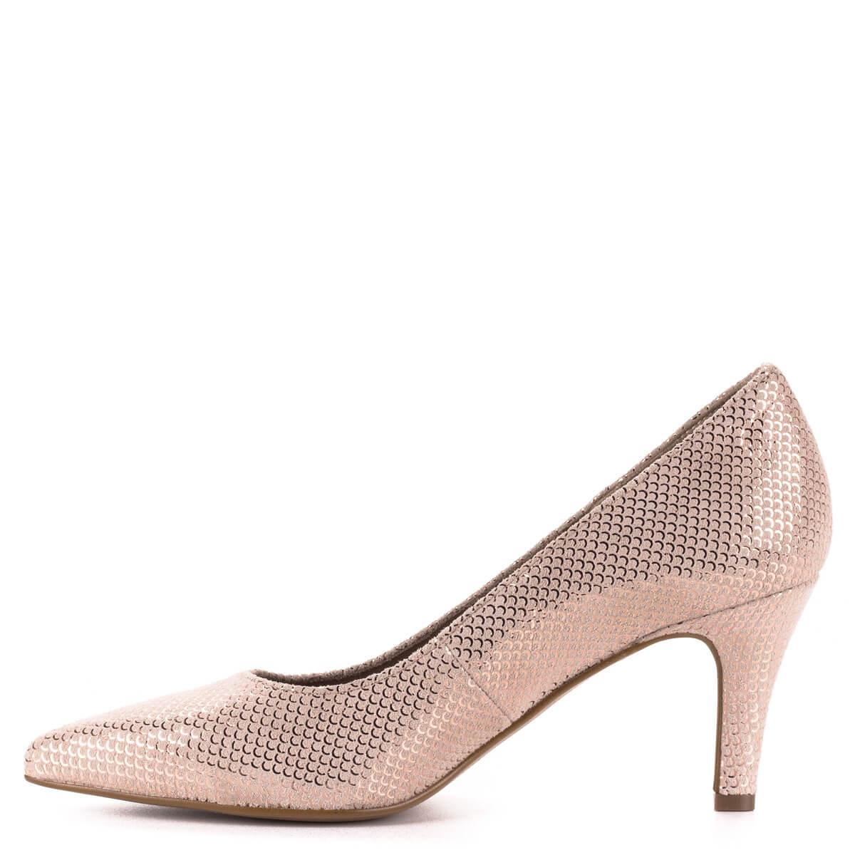 ... Tamaris rózsaszín alkalmi cipő strukturált bőrből. A cipő felületét  apró sorminta díszíti cfd45dbf0e