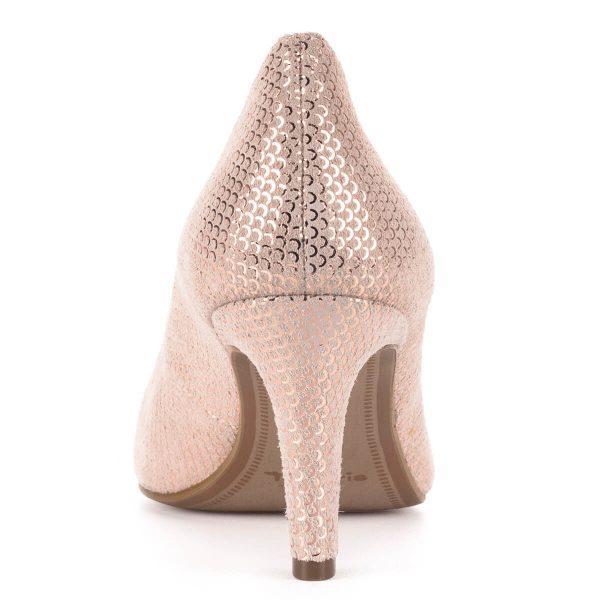 Tamaris rózsaszín alkalmi cipő strukturált bőrből. A cipő felületét apró sorminta díszíti, orra nyújtott. 7 cm magas sarokkal készült. Ingyenes szállítással