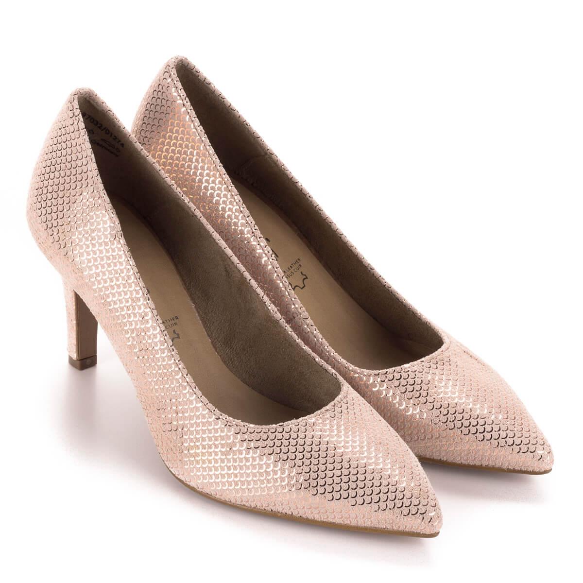 Tamaris rózsaszín alkalmi cipő strukturált bőrből. A cipő felületét apró  sorminta díszíti 39d640dbf9