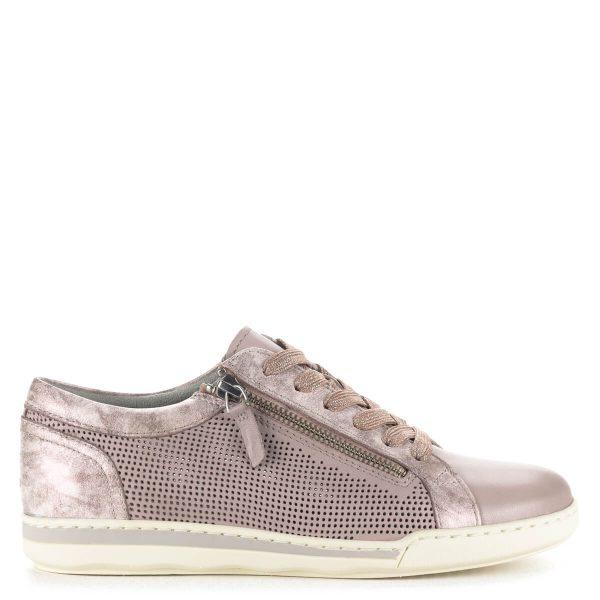 Rózsaszín Tamaris fűzős cipő bőrből, külső oldalán cipzár segíti a felvételt. Oldalán lyukacsos, szellős, talpbélése memóriahabos bélés.