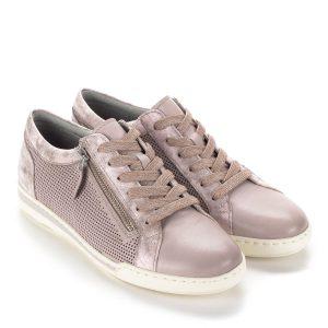 4ab800df94 Rózsaszín Tamaris fűzős cipő bőrből, külső oldalán cipzár segíti a  felvételt. Oldalán lyukacsos,
