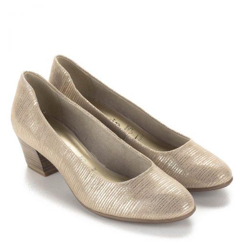 Tamaris cipő bézs-arany színben 4,5 cm magas AntiShokk sarokkal, puha Touch it talpbéléssel. Webáruházunkból ingyenes szállítással rendelhető.