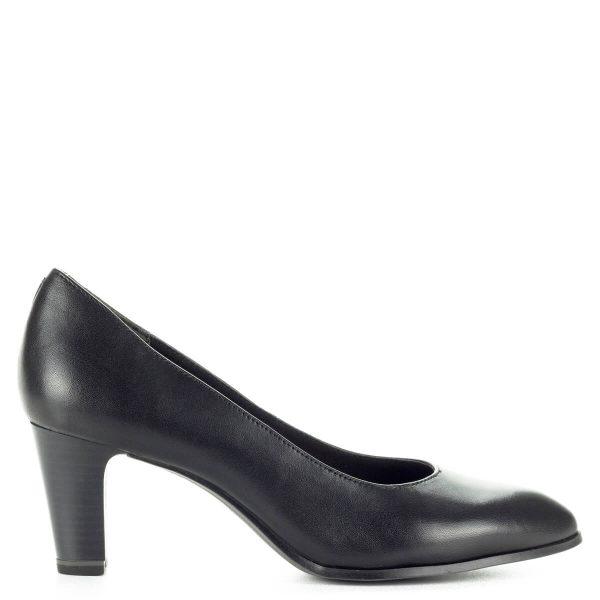 Tamaris fekete magassarkú cipő AntiShokk sarokkal és puha memóriahabos talpbéléssel. Orra enyhén nyújtott, sarka 6,5 cm magas.