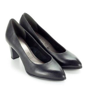 Tamaris fekete magassarkú cipő AntiShokk sarokkal és puha memóriahabos  talpbéléssel. Orra enyhén nyújtott 413d9ccb3c