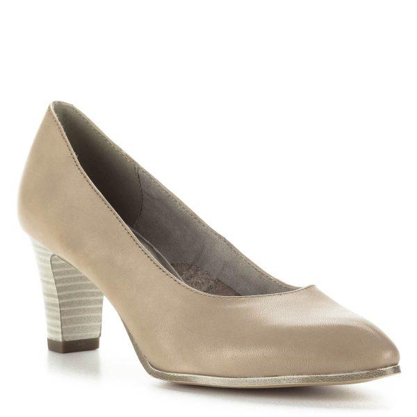 Tamaris magassarkú cipő 6,5 cm magas AntiShokk sarokkal, világos színben. Orra nyújtott, kényelmes, nőies darab. A cipőt ingyenesen szállítjuk.