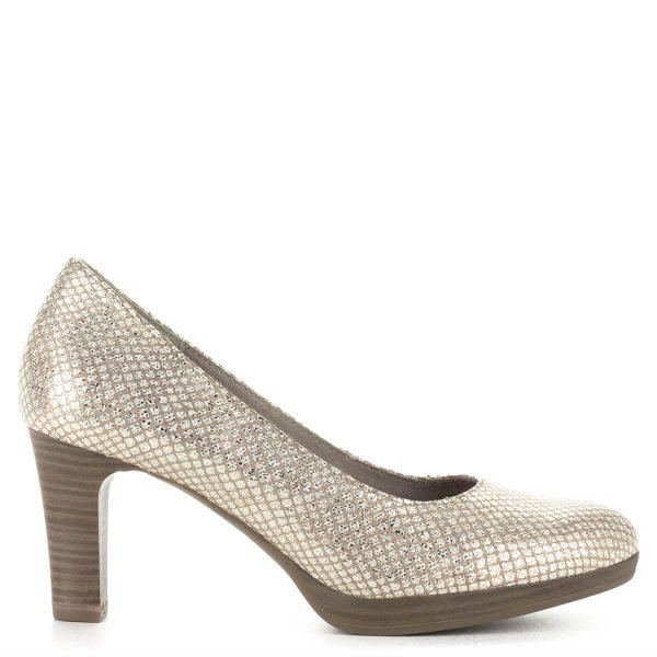 """Tamaris platformos női cipő7,5 cm-es sarokkal, """"kagylóhéj"""" színben. A cipő anyaga bőr, sarka AntiShokk technológiával készült"""