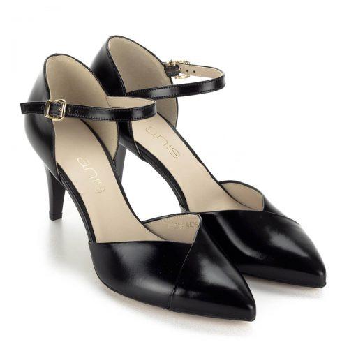 Anis hegyes orrú bokapántos bőr szandálcipő 7,5 cm magas sarokkal, bőr béléssel. Kényelmes, jó sarokállású magassarkú női cipő.
