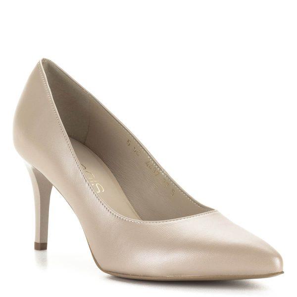 Anis gyöngyház fényű bézs magassarkú cipő 7,5 centis sarokmagassággal. Kívül-belül bőr, kényelmes, letisztult fazon. Tűsarkú cipő minden alkalomra.