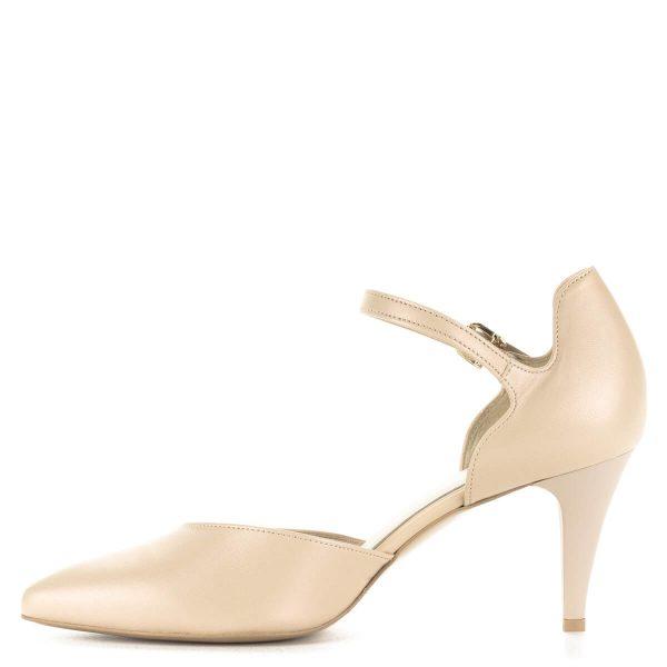 Anis pántos bőr szandálcipő 7 cm-es sarokkal. Elegáns cipő, kellemes sarokmagassággal, bélése bőr. Gyöngyház hatású bézs színben.
