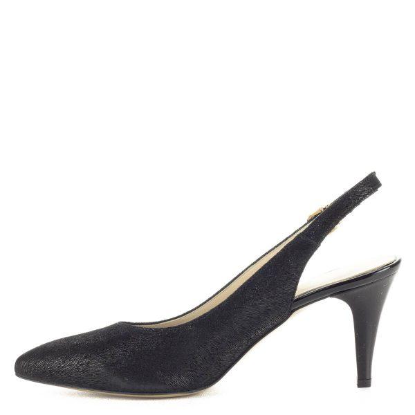 Fekete Anis bőr szandálcipő csattal állítható sarokpánttal, 8 cm magas sarokkal. Bőrén apró minta található. Bélése természetes bőr, kényelmes, nőies fazon.