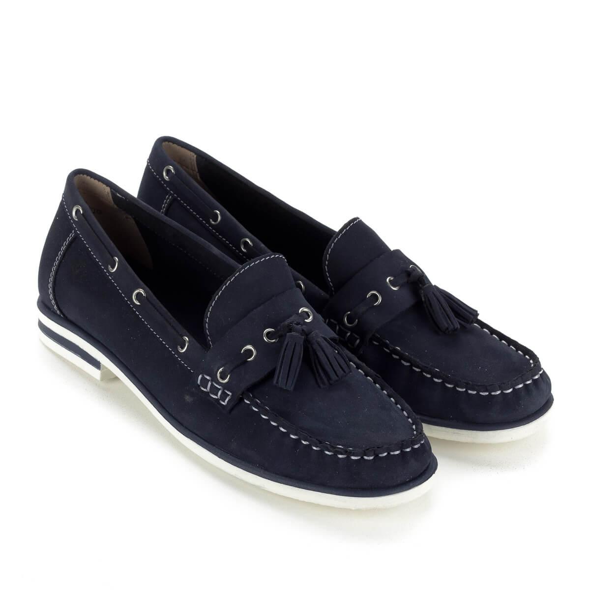 Kék Caprice bőr mokaszín fehér gumi talppal. Klasszikus nyári bőr cipő 8f057612af