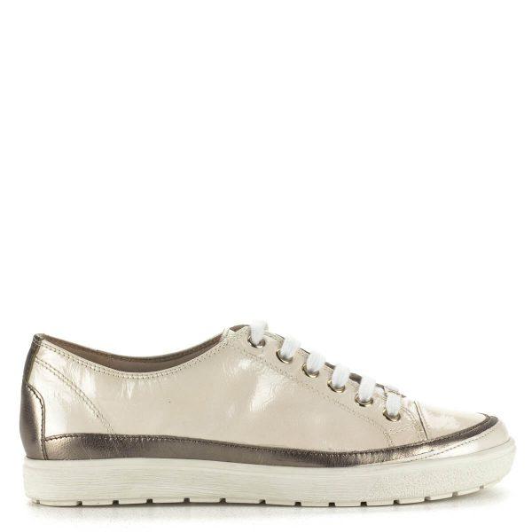 Krém színű Caprice fűzős cipő bőrből. Kényelmes, fiatalos cipő bőr béléssel, gumi talppal. Webáruházunkból ingyenes szállítással rendelhető.