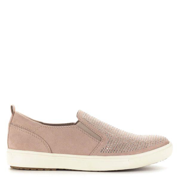Lapos rózsaszín Tamaris cipő, strasszokkal díszített. Két oldalt gumi betétes. Anyaga könnyű, jól szellőző textil.