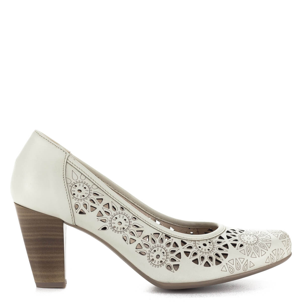 4ba79b8565 ... Magas sarkú törtfehér Alpina cipő lézervágott bőr felsőrésszel, bőr  béléssel. Sarka kb 7 cm