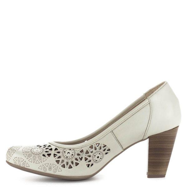 Magas sarkú törtfehér Alpina cipő lézervágott bőr felsőrésszel, bőr béléssel. Sarka kb 7 cm magas, G szélességű talppal készült.