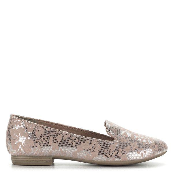 Marco Tozzi női félcipő rózsaszín mintával, ezüstös csillogással. Kényelmes, különleges darab. Cipő webáruházunkból ingyenes szállítással rendelhető.