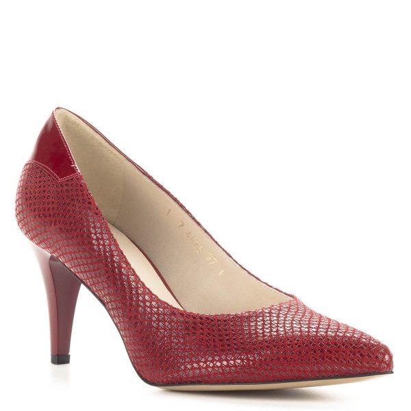 Piros Anis magassarkú női bőr cipő 7,5 cm-es sarokkal. Kérgén lakk betét kapott helyet. Gyönyörű lengyel gyártású bőr cipő, ingyenes szállítással rendelhető