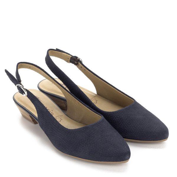 Tamaris kis sarkú kék bőr szandálcipő. A cipő csúcsos orrformával készült, kb 3 cm-es sarokkal. Pántja csatos. Tamaris cipő ingyen szállítással.