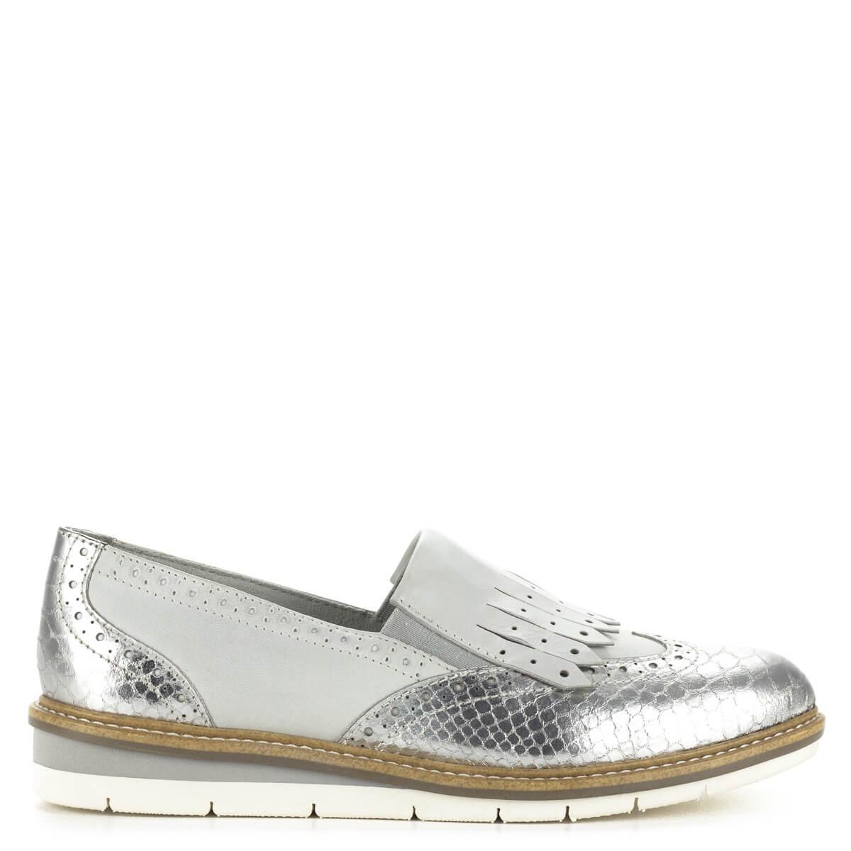 196e5c051b19 ... Tamaris női bőr cipő ezüst és törtfehér színben. Stílusos, divatos cipő  kényelmes, lapos