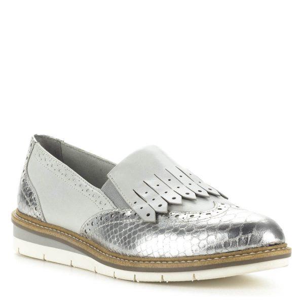 Tamaris női bőr cipő ezüst és törtfehér színben. Stílusos, divatos cipő kényelmes, lapos talppal. Ingyenes szállítással rendelhető.