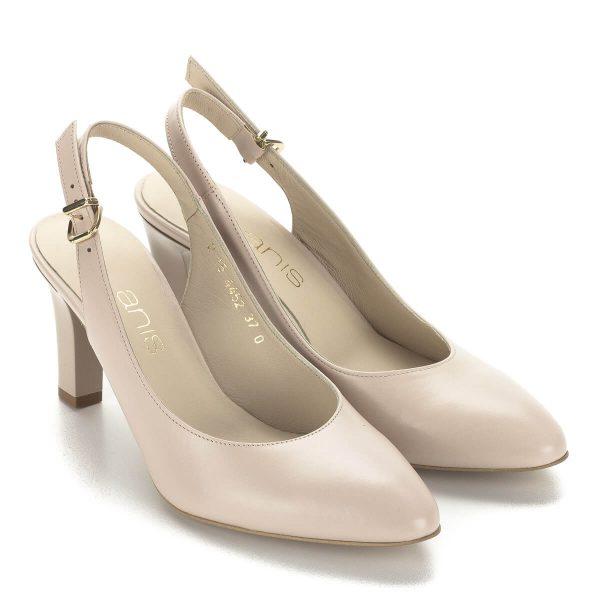 Bézs Anis magassarkú szandálcipő, kívül-belül puha bőr. Sarka 7,5 cm, sarokpántján arany csat található. Kifinomult, elegáns szandál kényelmes sarokkal.