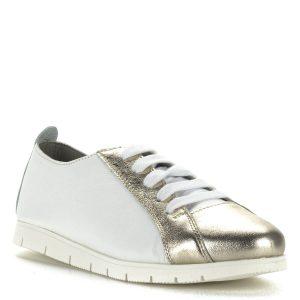 Cadenzza fűzős cipő bőrből. A cipő fehér-arany színkombinációban készült gumi talppal, puha bőr béléssel.