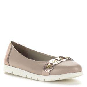 Cadenzza női bőr cipő rózsaszín színben, csillogós rózsaszín virág díszítéssel. Bélése bőr, talpa gumi.