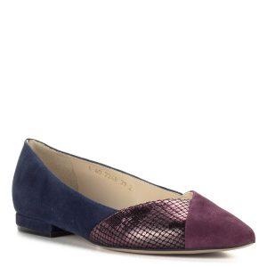 Lapos Anis bőr cipő, bordó-kék színkombinációban. Bélése és felsőrésze egyaránt bőr, nagyon elegáns lapos talpú női cipő.