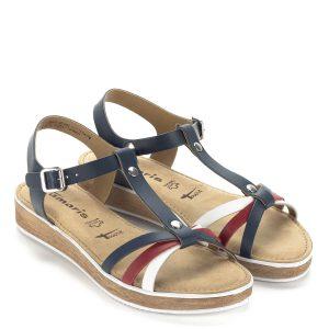 Lapos Tamaris szandál Touch it talppal, kék, fehér és piros színű bőr pántokkal. Puha memóriahabos talpbélése egész nap kényezteti a lábat.