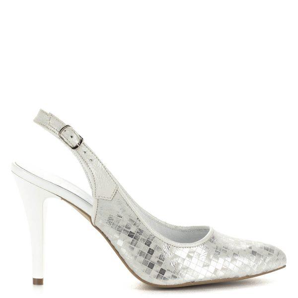 Luca Cavialli fehér-ezüst szandálcipő 9 cm magas sarokkal. A szandál bélése és felsőrésze egyaránt bőr, felsőrésze ezüst csillogású.