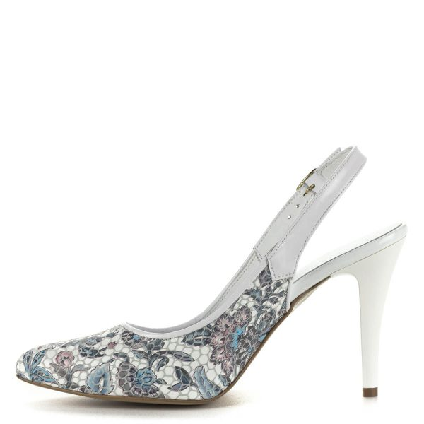 Luca Cavialli virágmintás magassarkú szandálcipő. Anyaga bőr, sarka kb 9 cm magas. Elegáns magassarkú női szandál hétköznapra és alkalomra.